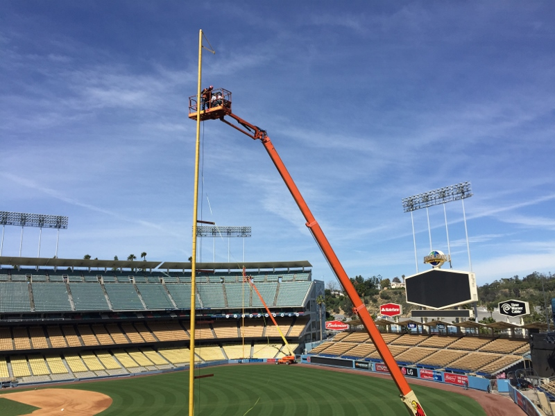 Work being done on the foul poles at Dodger Stadium, March 22, 2016. Photo: Stacie Wheeler