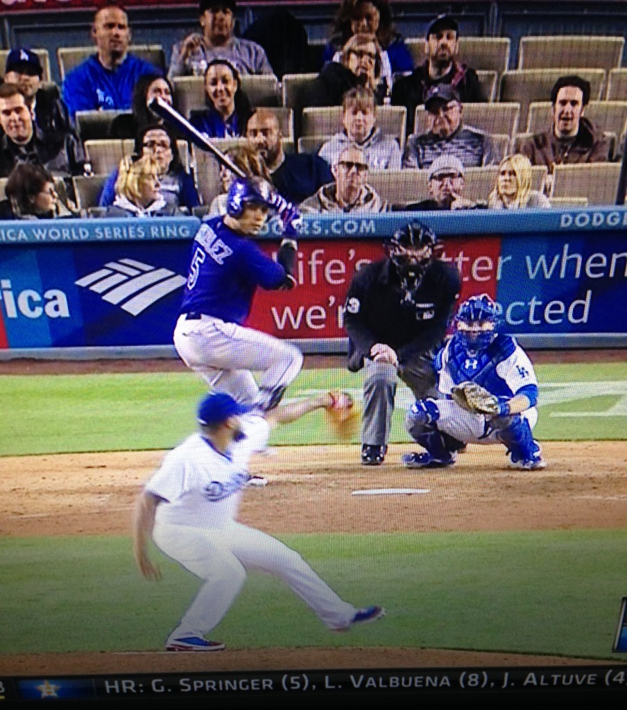 Kenley Jansen strikes out Carlos Gonzalez in the 8th inning, May 15, 2015.