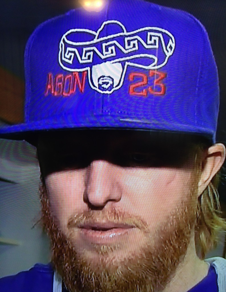 Justin Turner sports an Agon 23 cap, May 20, 2015.