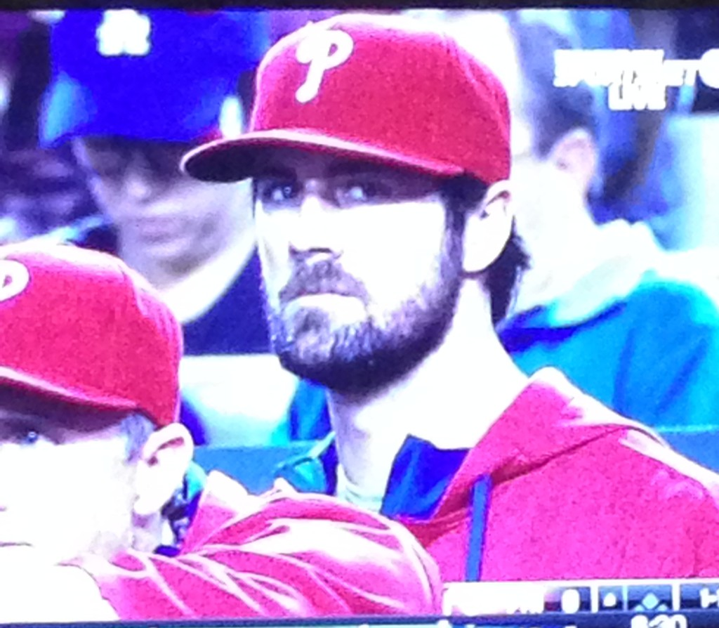 Still with the Phillies, Cole Hamels looks out from the dugout. July 8, 2015.