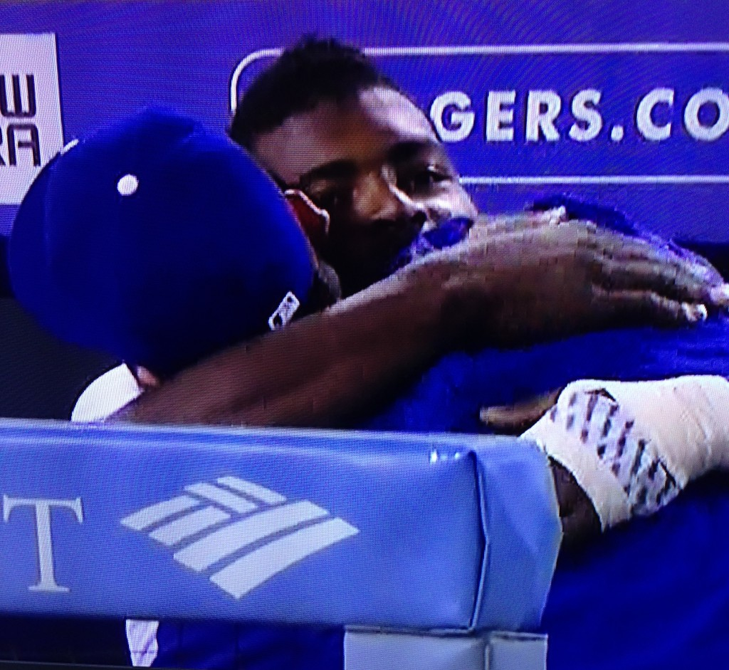 Yasiel Puig gives more hugs. July 9, 2015.
