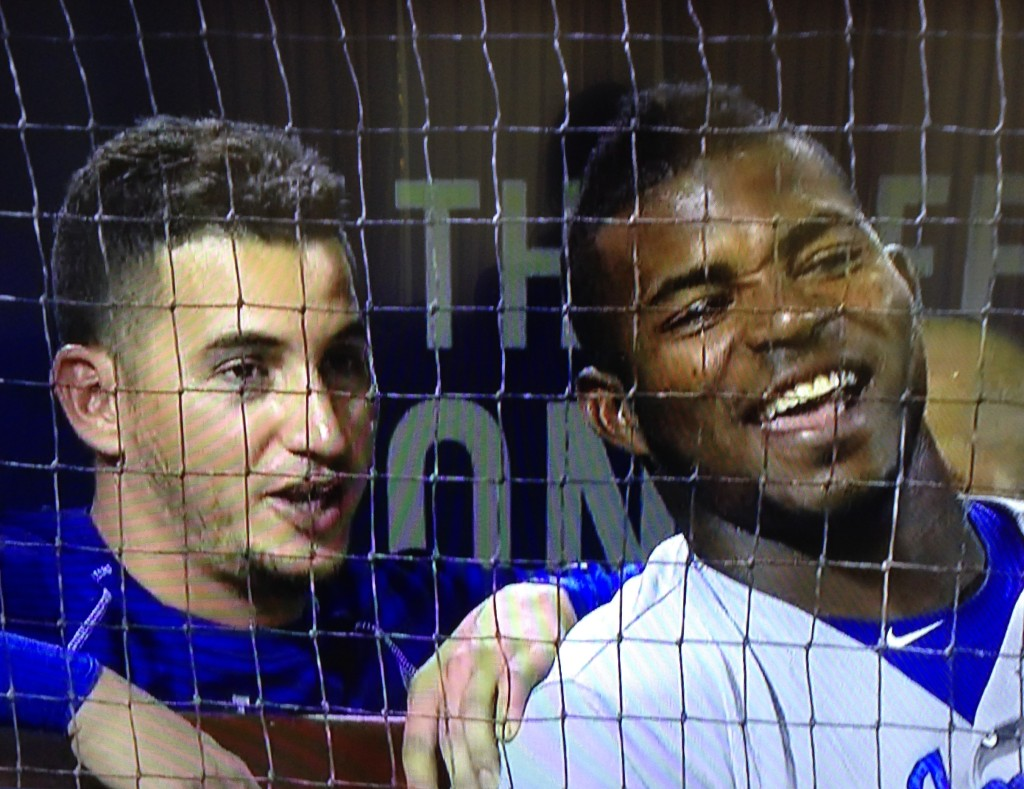 Alex Guerrero and Yasiel Puig are all laughs. August 5, 2015.