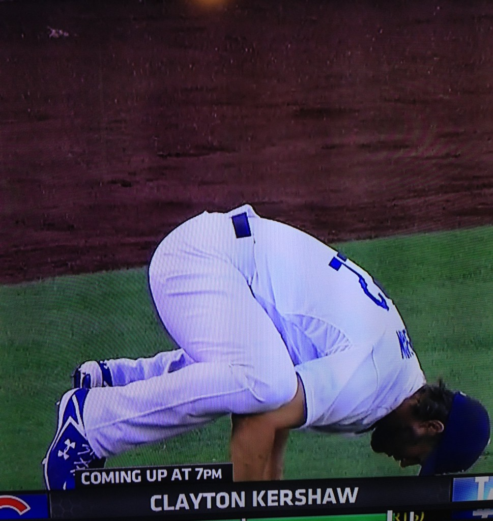 Clayton Kershaw doing pre-start yoga. Namaste. August 28, 2015.