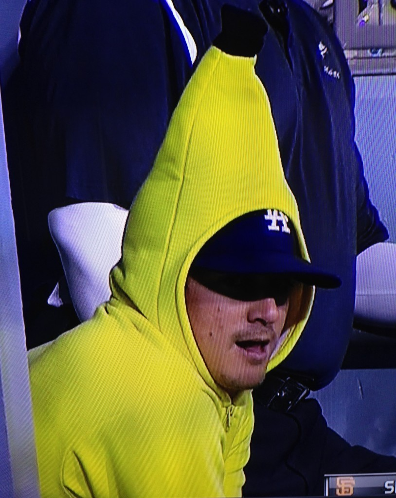 Enrique Hernandez follows Andrew Friedmans orders and dons the Rally Banana sweatshirt. September 1, 2015.