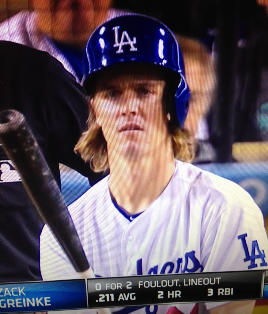 Zack Greinke at bat. September 1, 2015
