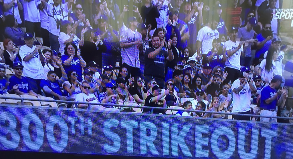 Clayton Kershaw records his 300th strikeout for the 2015 season. October 4, 2015.