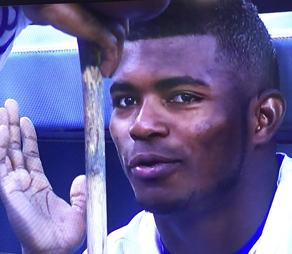 Yasiel Puig in the dugout. October 3, 2015.